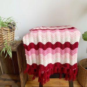 Vtg Granny Crochet Blanket Pink White Throw Fringe